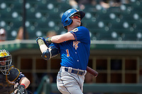 Jake Cronenworth (1) of the Durham Bulls follows through on his swing against the Charlotte Knights at BB&T BallPark on May 27, 2019 in Charlotte, North Carolina. The Bulls defeated the Knights 10-0. (Brian Westerholt/Four Seam Images)