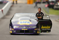 Jun 17, 2017; Bristol, TN, USA; NHRA pro stock driver Vincent Nobile during qualifying for the Thunder Valley Nationals at Bristol Dragway. Mandatory Credit: Mark J. Rebilas-USA TODAY Sports