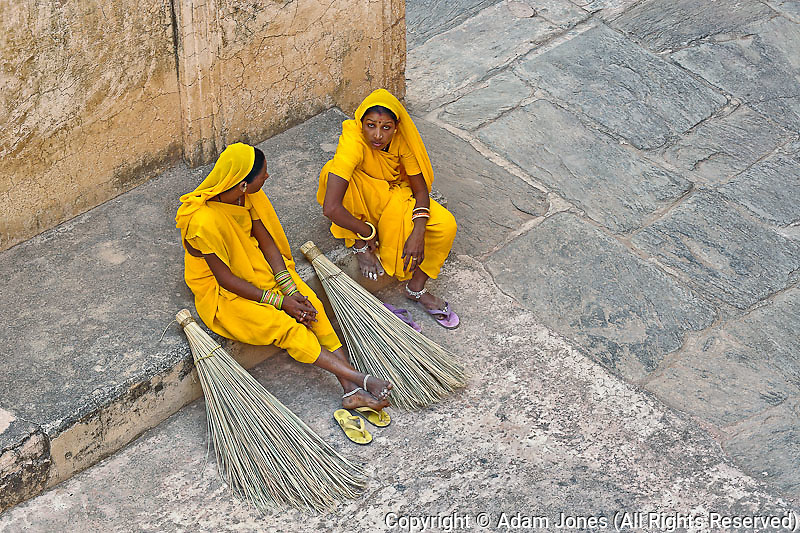 Indian workers in color saris, Amber Fort, Jaipur, India