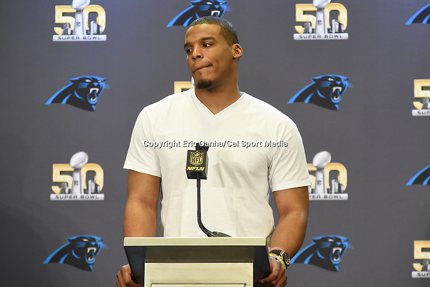 Tuesday, February 2, 2016: Carolina Panthers quarterback Cam Newton (1) talks to the media during a press conference for the National Football League Super Bowl 50 between the Denver Broncos and the Carolina Panthers. Eric Canha/CSM