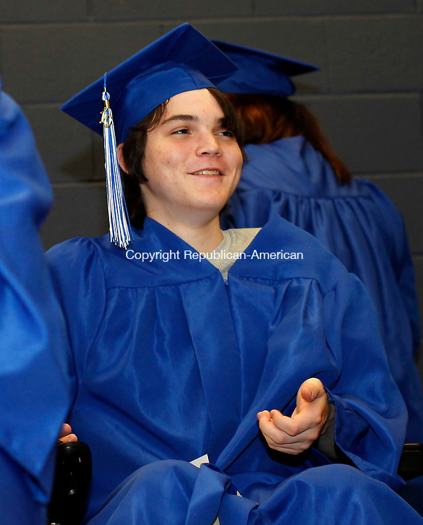 Torrington, CT-11, June 2010-061110CM13  Adam Green, of Litchfield is all smiles before receiving his diploma from the Explorations Charter School.  The ceremony was held at the UConn Torrington campus Friday night. --Christopher Massa Republican-American