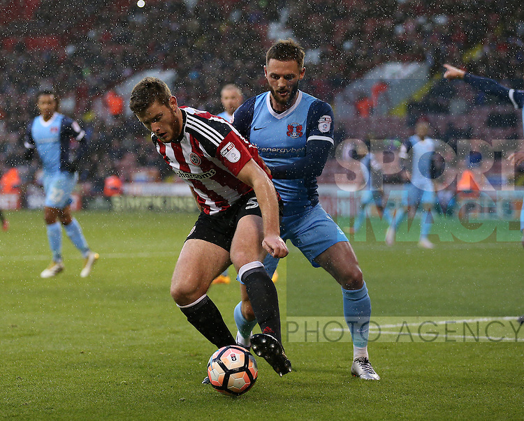 Jack O'Connell of Sheffield Utd during the Emirates FA Cup Round One match at Bramall Lane Stadium, Sheffield. Picture date: November 6th, 2016. Pic Simon Bellis/Sportimage