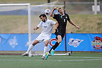 SALEM, VA - DECEMBER 3: Nathan Majumder (24) of Tufts University and Trent Vegter (6) of Calvin College go for a headerduring theDivision III Men's Soccer Championship held at Kerr Stadium on December 3, 2016 in Salem, Virginia. Tufts defeated Calvin 1-0 for the national title. (Photo by Kelsey Grant/NCAA Photos)
