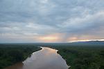 fleuve Omo au coucher du soleil depuis le village de Korcho