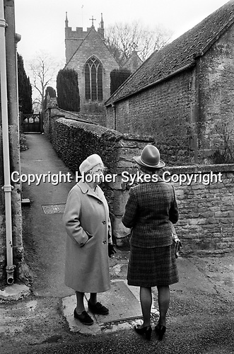 Upper Slaughter, Gloucestershire 1975. England. Church Sunday morning, St Peter's Church.