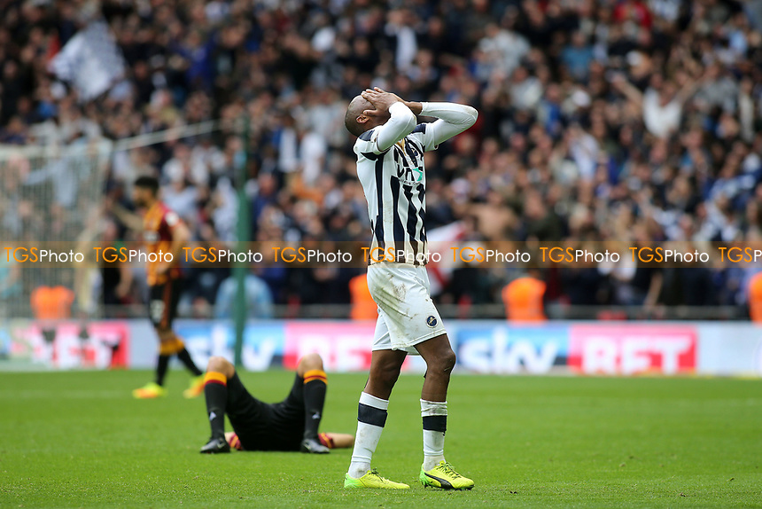 Millwall's Nadjim Abdou reaction at the final whistle as a Bradford player falls to the ground in disappointment during Bradford City vs Millwall, Sky Bet EFL League 1 Play-Off Final at Wembley Stadium on 20th May 2017