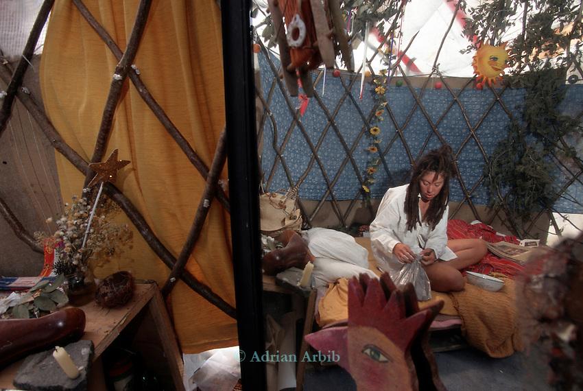 Anyja in her homemade yurt,  Wandsworth Eco village.