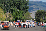 Douglas County High School Pathers Band walks down Esmeralda Avenue during the Carson Valley Days parade downtown Minden, Nevada.