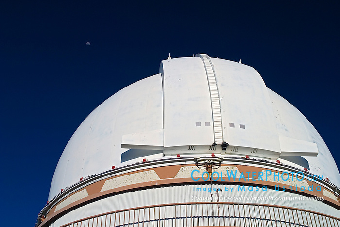 University of Hawaii 2.2-meter Telescope and moon, Mauna Kea Observatories, Big Island, Hawaii