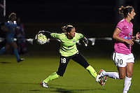Kansas City, MO - Friday May 13, 2016: FC Kansas City goalkeeper Nicole Barnhart (18) against Chicago Red Stars during a regular season National Women's Soccer League (NWSL) match at Swope Soccer Village. The match ended 0-0.
