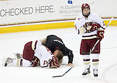 Brian Gibbons (BC - 17), Bert Lenz (BC - Trainer), Cam Atkinson (BC - 13) - The Boston College Eagles defeated the University of Massachusetts-Amherst Minutemen 5-2 on Saturday, March 13, 2010, at Conte Forum in Chestnut Hill, Massachusetts, to sweep their Hockey East Quarterfinals matchup.