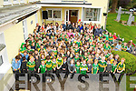 Pupils and staff pictured with Kerry footballer Kieran Donaghy at the official opening of the school extension at Cullina National School on Thursday. ............................................................................