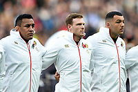 Mako Vunipola, Sam Simmonds and Ellis Genge of England look on prior to the match. Old Mutual Wealth Series International match between England and Argentina on November 11, 2017 at Twickenham Stadium in London, England. Photo by: Patrick Khachfe / Onside Images
