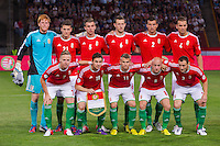 Members of team Hungary line up before a World Cup 2014 qualifying soccer match Hungary playing against Netherlands in Budapest, Hungary on September 11, 2012. ATTILA VOLGYI