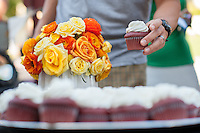 Free cupcakes in honor of Founders Day. People peruse items on sale made by students and staff during Handmade Oxy on Founders Day, April 20, 2016.<br /> (Photo by Marc Campos, Occidental College Photographer)