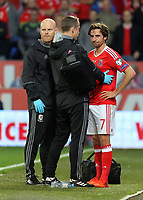 Wales physiotherapists see to Joe Allen (R) who suffered a suspected head injury during the FIFA World Cup Qualifier Group D match between Wales and Republic of Ireland at The Cardiff City Stadium, Wales, UK. Monday 09 October 2017
