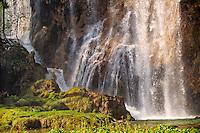 Waterfall over the travatine deposits of Plitvice. Plitvice ( Plitvika ) Lakes National Park, Croatia. A UNESCO World Heritage Site
