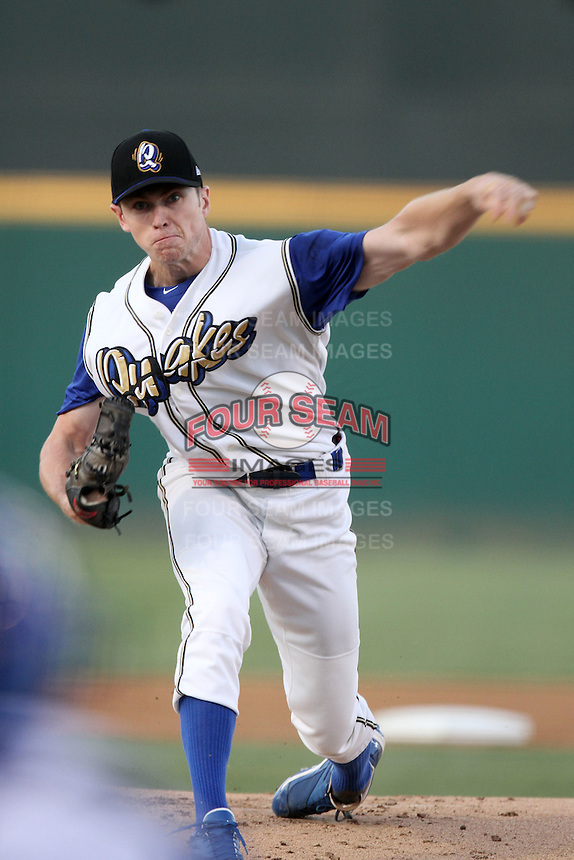 Rancho Cucamonga Quakes pitcher Chris Reed #35  pitches against the Bakersfield Blaze at the Epicenter on August 24, 2011 in Rancho Cucamonga,California. Rancho Cucamonga defeated Bakersfield 12-10.(Larry Goren/Four Seam Images)