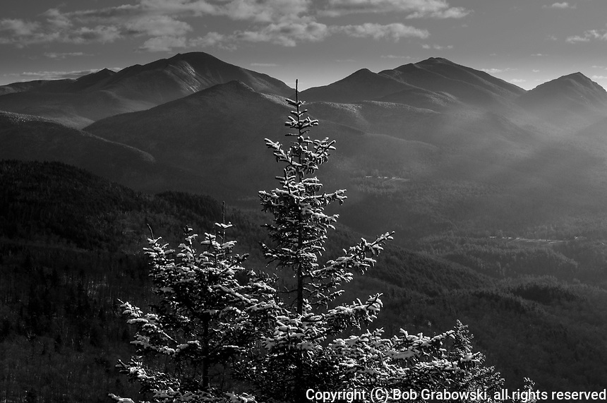 View from Hopkins Mt after a light snowfall in the High Peaks Region of the Adirondack Mountains in New York State