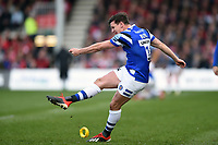 Freddie Burns of Bath Rugby kicks for the posts. Gallagher Premiership match, between Gloucester Rugby and Bath Rugby on April 13, 2019 at Kingsholm Stadium in Gloucester, England. Photo by: Patrick Khachfe / Onside Images