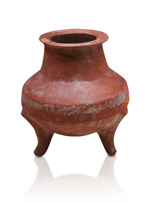 Hittite terra cotta pot on trident legs. Hittite Old Period, 1650 - 1450 BC.  Hattusa Boğazkale. Çorum Archaeological Museum, Corum, Turkey. Against a white bacground.