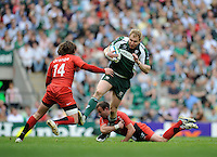 Twickenham, GREAT BRITAIN, Exiles' Peter HEWAT, in action breaking through, Jean-Baptiste ELISSALDE and right, Maxine MEDARD, during the Heineken, Semi Final, Cup Rugby Match,  London Irish vs Toulouse, at the Twickenham Stadium on Sat 26.04.2008 [Photo, Peter Spurrier/Intersport-images]