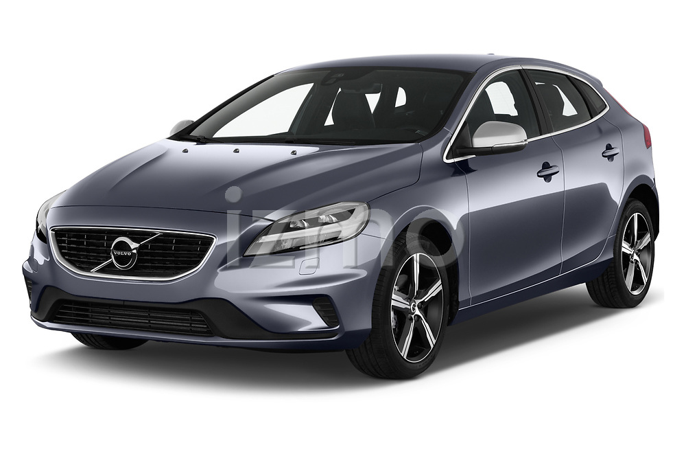 2018 Volvo V40 R-Design 5 Door Hatchback angular front stock photos of front three quarter view
