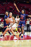 College Park, MD - NOV 21, 2017: Maryland Terrapins forward Stephanie Jones (24) makes a move to the basket against Howard Bison forward Danielle Griffin (45) during game between the Howard Lady Bison and the Maryland Terrapins at the XFINITY Center in College Park, MD.  (Photo by Phil Peters/Media Images International)