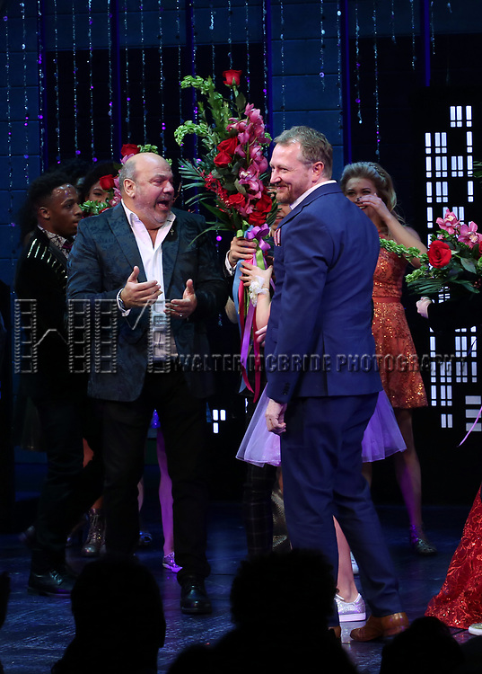 """Casey Nicholaw and Rob Martin during the Broadway Opening Night Curtain Call of """"The Prom"""" at The Longacre Theatre on November 15, 2018 in New York City."""