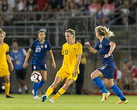 East Hartford, Connecticut - Sunday July 29, 2018:  2018 Tournament of Nations match between the women's national teams of Australia (AUS) (yellow) and United States (USA) (blue). United States Women's team (uSWNT) tied Australia, 1-1, at Pratt & Whitney Stadium at Rentschler Field.