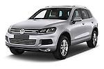 2014 Volkswagen Touareg Hybrid 5 Door SUV 2WD Angular Front stock photos of front three quarter view