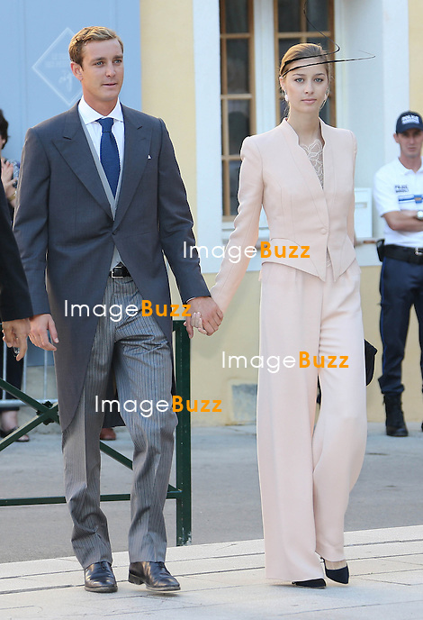Pierre Casiraghi and girlfriend Beatrice Borromeo attend the Religious Wedding Of Prince Felix Of Luxembourg & Claire Lademacher at the Basilique Sainte Marie-Madeleine on September 21, 2013 in Saint-Maximin-La-Sainte-Baume, France.
