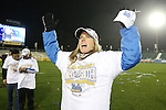08 December 2013: UCLA head coach Amanda Cromwell. The Florida State University Seminoles played the University of California Los Angeles Bruins at WakeMed Stadium in Cary, North Carolina in a 2013 NCAA Division I Women's College Cup championship game. UCLA won the game 1-0 in overtime.