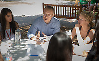 Xiao-huang Yin, Professor, American Studies. Incoming first years meet with their faculty advisors during the Major Information Sessions & Advising part of Orientation in the Academic Quad, Aug. 24, 2015.<br /> (Photo by Marc Campos, Occidental College Photographer)