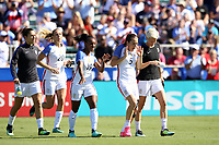 Cary, NC - Sunday October 22, 2017: Crystal Dunn and Kelley O'Hara prior to an International friendly match between the Women's National teams of the United States (USA) and South Korea (KOR) at Sahlen's Stadium at WakeMed Soccer Park. The U.S. won the game 6-0.