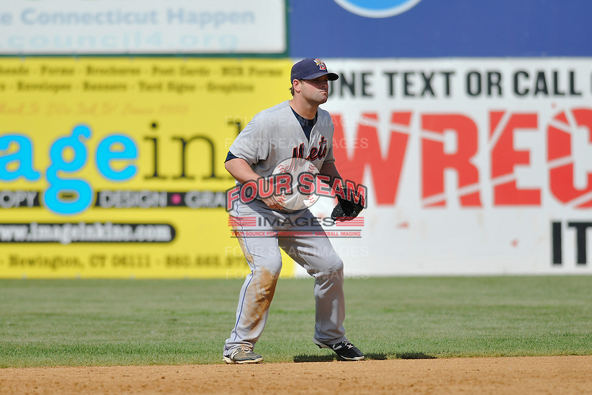 Brian Brugamy (7) of the Binghamton Mets plays second base during a game against the New Britain Rock Cats at New Britain Stadium on June 1, 2014 in New Britain, Connecticut.  New Britain defeated Binghamton 6-1.  (Gregory Vasil/Four Seam Images)