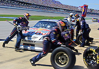 Brian Vickers makes a pit stop during the Aaron's 499 at Talladega Superspeedway, Talladega, AL, April 17, 2011.  (Photo by Brian Cleary/www.bcpix.com)