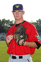 State College Spikes pitcher Tyler Waldron (55) poses for a photo before a game vs. the Batavia Muckdogs at Dwyer Stadium in Batavia, New York July 17, 2010.   Batavia defeated State College 12-11 in 11 innings.  Photo By Mike Janes/Four Seam Images