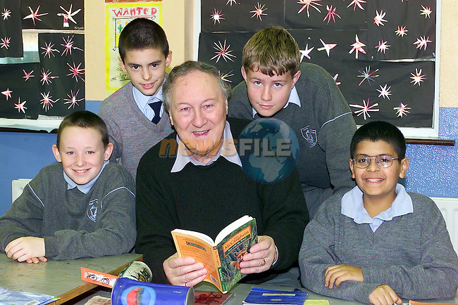T.J. Dixon Cormac Leddy, Gavin Connor and George Molek with Tom Callaghan in Mount Hanover School..Picture Fran Caffrey Newsfile.