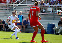 BOYDS, MD - April 13 2014: Vicky Losada of the Flash scoring the first goal off this shot in Washington Spirit v Western New York Flash NWSL match at Maryland Sportsplex, in Boyds, Maryland.The Flash won 3-1.