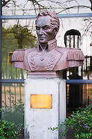 Statue bust in front of a military building close to Carlos Morales Street depicting Simon Bolivar El Libertador, the liberator, originally from Venezuela but who was key to the liberalisation of South America, specifically Colombia of which he became the first president. 1783-1830 Montevideo, Uruguay, South America