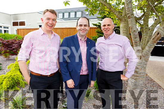 Dr. John Daly, Prof. Edmund Harty and Fergus O'Mara at the Dairymaster 50th Anniversary BBQ in the Ballygarry Hotel on Sunday.