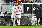 10.03.2019, Prezero-Arena, Sinsheim, GER, 1 FBL, TSG 1899 Hoffenheim vs 1. FC Nuernberg, <br /> <br /> DFL REGULATIONS PROHIBIT ANY USE OF PHOTOGRAPHS AS IMAGE SEQUENCES AND/OR QUASI-VIDEO.<br /> <br /> im Bild: Auswechslung wegen Verletzung: Enrico Valentini (#22, 1. FC Nuernberg) raus, Timothy Tillman (1. FC Nuernberg #37) rein<br /> <br /> Foto &copy; nordphoto / Fabisch