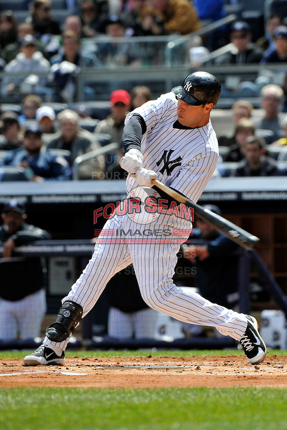 Apr 03, 2011; Bronx, NY, USA; New York Yankees infielder Mark Teixeira (25) during game against the Detroit Tigers at Yankee Stadium. Tigers defeated the Yankees 10-7. Mandatory Credit: Tomasso De Rosa