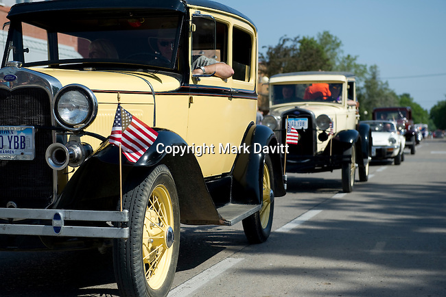 Antique cars were among the many entries in the annual parade.