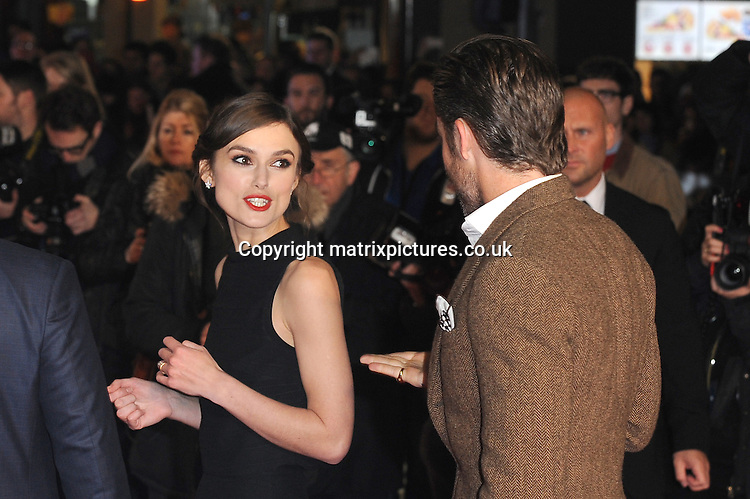 NON EXCLUSIVE PICTURE: PAUL TREADWAY / MATRIXPICTURES.CO.UK<br /> PLEASE CREDIT ALL USES<br /> <br /> WORLD RIGHTS<br /> <br /> American actor Chris Pine and English actress Keira Knightley are pictured attending the UK premiere of &quot;Jack Ryan: Shadow Recruit&quot; at the Leicester Square Vue Theatre in London, England.<br /> <br /> JANUARY 20th 2014<br /> <br /> REF: PTY 14295