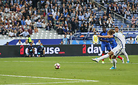 Harry Kane (Tottenham Hotspur) of England scores from the penalty spot making it 2 2 during the International Friendly match between France and England at Stade de France, Paris, France on 13 June 2017. Photo by David Horn/PRiME Media Images.