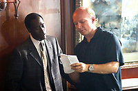 Crash (2004)<br /> Behind the scenes photo of Don Cheadle &amp; Paul Haggis<br /> *Filmstill - Editorial Use Only*<br /> CAP/MFS<br /> Image supplied by Capital Pictures