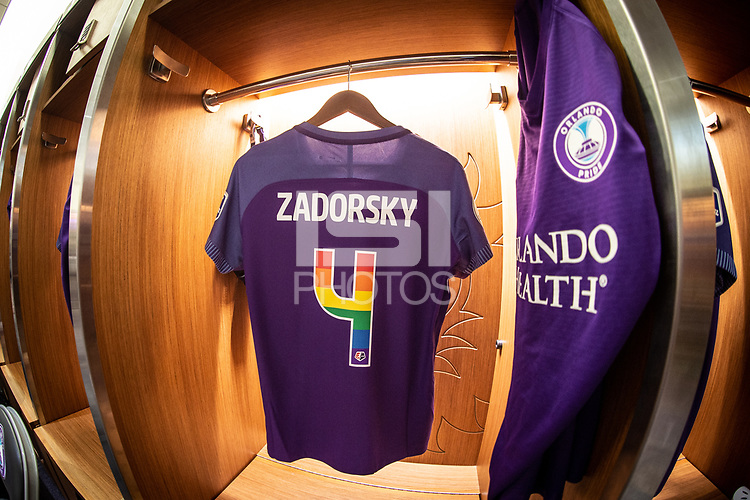 Orlando, FL - Saturday June 16, 2018:  Shelina Zadorsky jersey before the match, Orlando Pride vs Sky Blue FC at Orlando City Stadium.