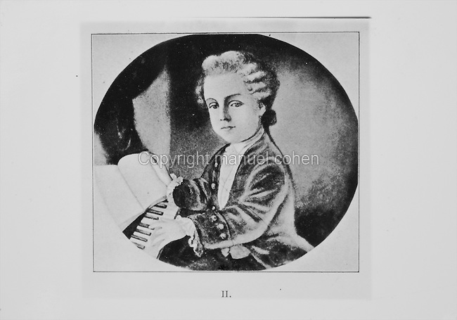 Portrait of Wolfgang Amadeus Mozart, 1756-91, Austrian Classical composer, as a young child playing the piano, engraving, 19th century. Copyright © Collection Particuliere Tropmi / Manuel Cohen